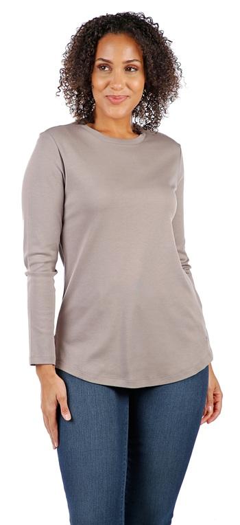 ISAAC MIZRAHI Ladies Essentials Crew Neck Knit Top, Driftwood, XS, Retail: $27