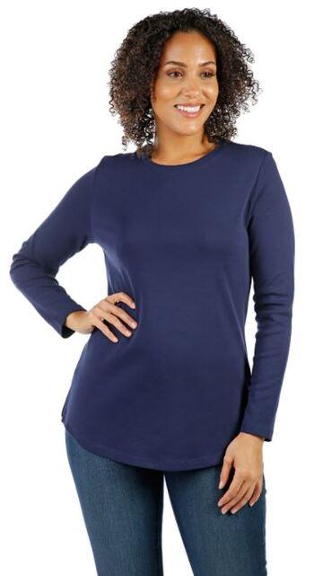 Isaac Mizrahi Live Women's Essentials Crew Neck Knit Top, Navy, Size L, Retail:$27.60