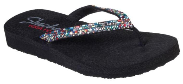 Skechers with Yoga Foam Women's Meditation Shine Away Sandals, Black/Multi, Size 8, Retail: $45.00