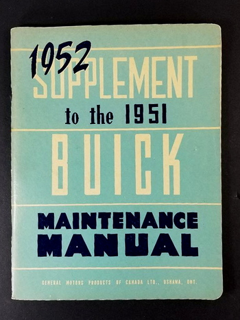 1952 Supplement to the 1951 Buick Manitenenace Manual