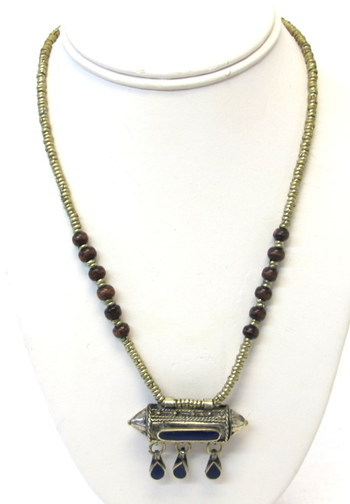 Vintage Middle Eastern Necklace with Metal Pill Box Pendant