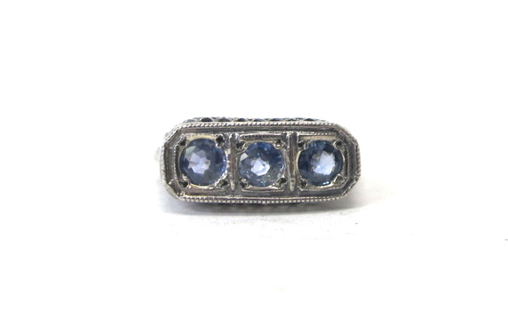 Art Deco Sterling Silver Filigree Ring with 3 Stones-Size 7