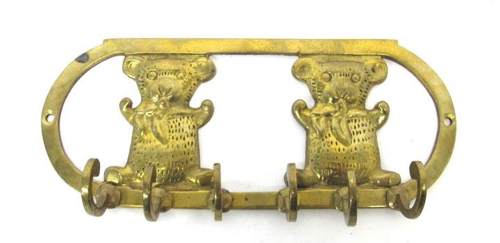 Solid Brass Teddy Bears Key Holder Rack