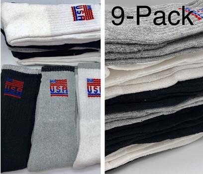 9 Pack Mens USA Logo Sport Athletic Crew Gray White Black Socks Size 10-13 Style 12