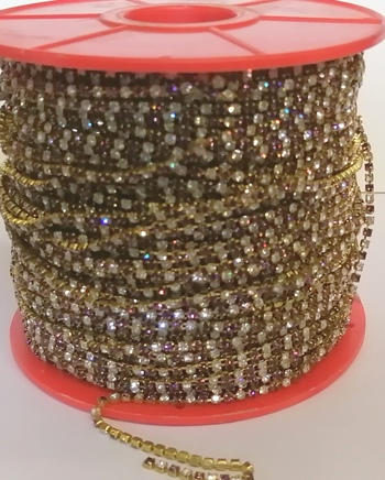 PP18 CRYSTAL AND AMETHYST MULTI COLOR RHINESTONE CHAIN - 25 METERS
