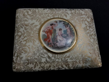 VTG Empire England Hand Painted Porcelain Trinket Box With Lid