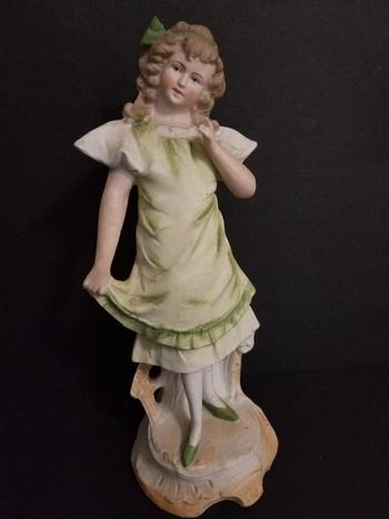 Antique Hand Painted Victorian German Bisque Girl Figurine