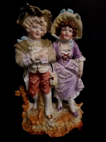 Antique Hand Painted Victorian German Bisque Figurine Couple
