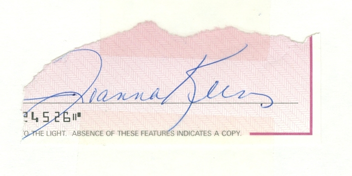 Joanna Kerns American Actress Growing Pains Signed Autographed 3x5 Check cut out on Index Card w/coa $100 Retail
