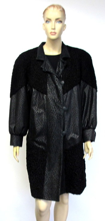 Women's Black Leather and Persian Lamb Coat - Size Large