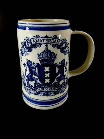 VTG Hand Painted Delfts Blue Amsterdam Holland Beer Stein Mug