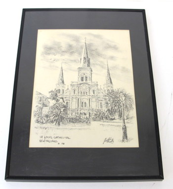 Vintage Lithograph of the St. Louis Cathedral- New Orleans