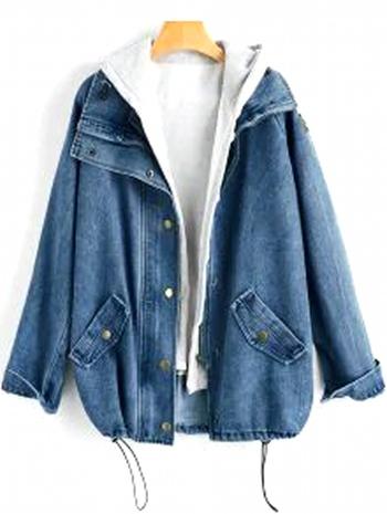 NWT Button Up Denim Jacket And Hooded Vest - Denim Dark Blue XL