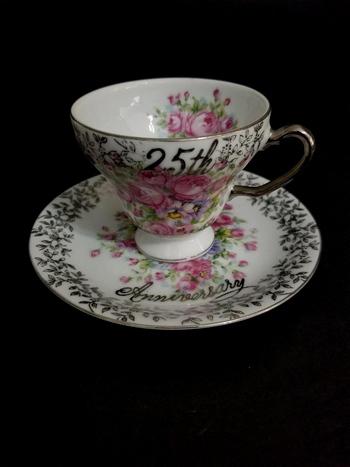 Vintage Japan 25Th Anniversary Bone China Tea Cup and Saucer