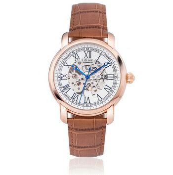 EDISON AUTOMATIC WATCH ROSE GOLD CASE SKELETON DIAL Retail $750.00