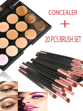 Concealer Palette Makeup Contour Face Cream 15 Color + 20 Brushes + SILISPONGE