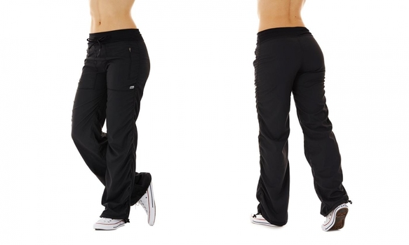 Marika Women's Lightweight Adjustable Length Drawcord Black Pants, Sz Med