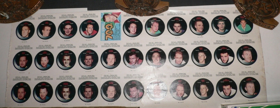 1968-69 O Pee Chee OPC '68 NHL Hockey Puck Sticker Uncut Sheet Bobby Orr Bobby Hull Phil Esposito