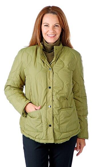 ISAAC MIZRAHI Ladies Reversible Sherpa Jacket, Olive, XS, Retail: $90