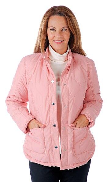 ISAAC MIZRAHI Ladies Reversible Sherpa Jacket, Dusty Pink, XS, Retail: $90