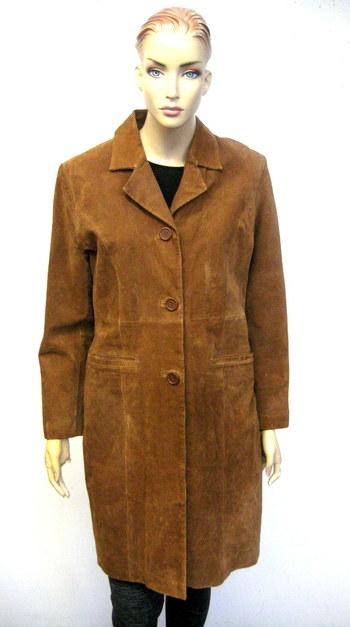 Women's Light Brown Color Suede Spring Coat-Size S/M