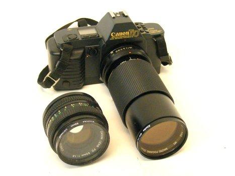 Canon T70 Camera & 2 Lenses