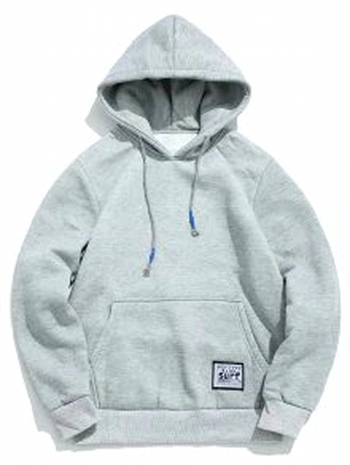 NWT Unisex Solid Pouch Pocket Fleece Hoodie - Light Gray - Size L