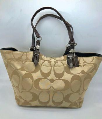 Coach Ashley Signature Gold/Cream Tote Shoulder Bag 16175 Retail: $298