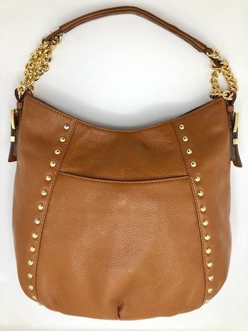 Michael Kors Brown Leather Studded Middleton Hobo Bag Retail $398