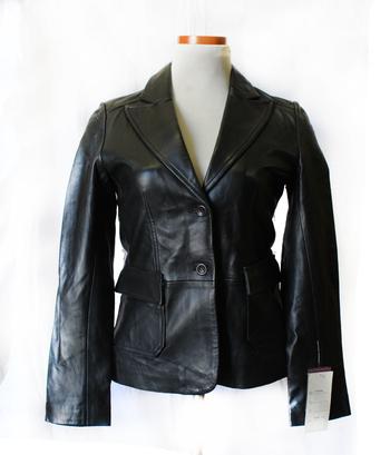 Women's Leather Jacket - Size S/M - Black