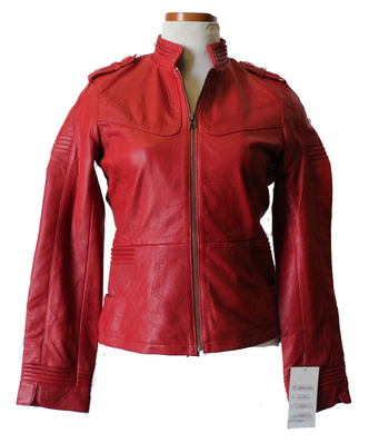 Women's Leather Jacket - Size S - Red