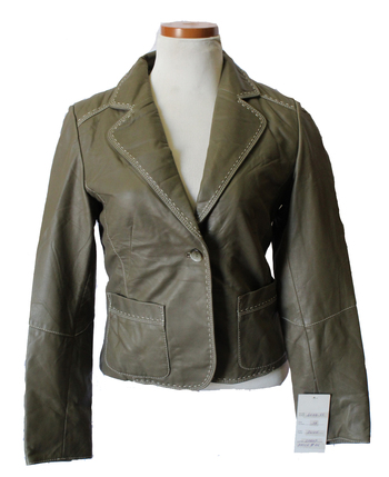 Women's Leather Jacket - Size S - Olive