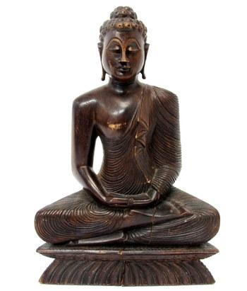 Vintage Wooden Sculpture of Buddha