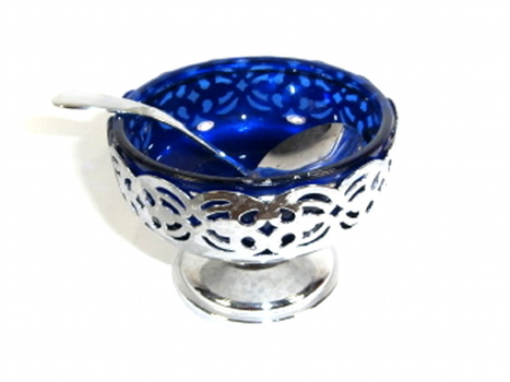 Cobalt Blue Glass Sugar Bowl in A Chrome Plate Holder With A Spoon