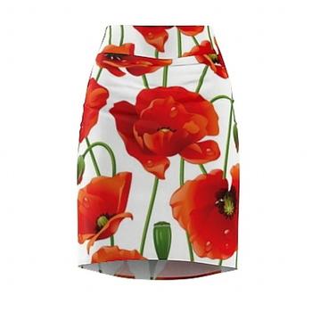 Women's Pencil Skirt Red Flowers 2XL