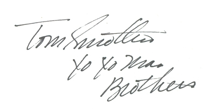 Tom Smothers American Comedian, Composer and Musician Signed Autographed 3x5 Index Card w/coa $100 Retail