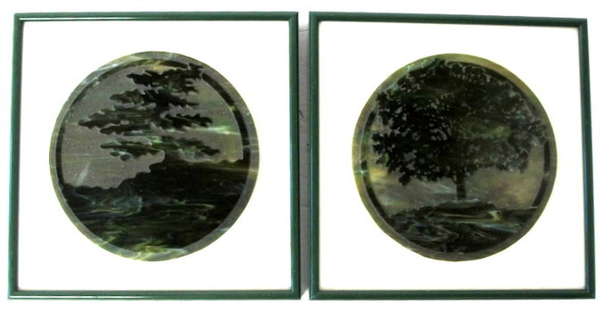 Set of 2 Art Glass Pictures by Richard Bond