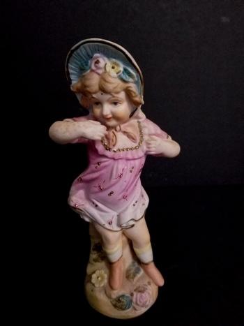 Antique Hand Painted Victorian German Bisque Girl Figurine