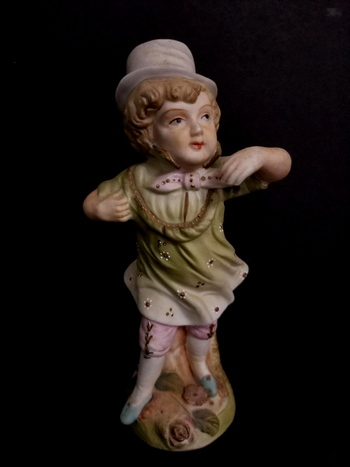 Antique Hand Painted Victorian German Bisque Boy Figurine