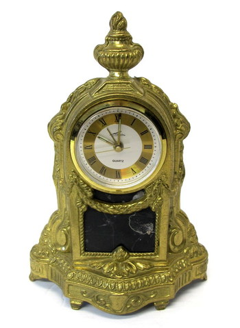Vintage Brass and Marble Quartz Table Clock