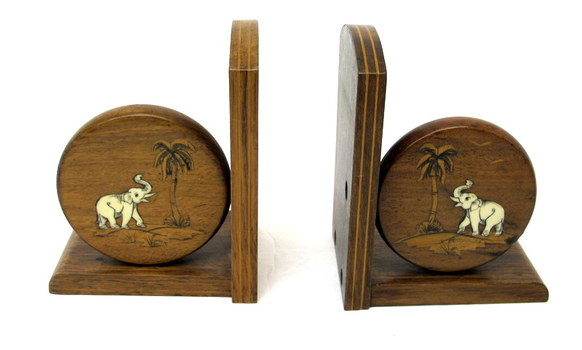 Vintage Wood and Bone Bookends