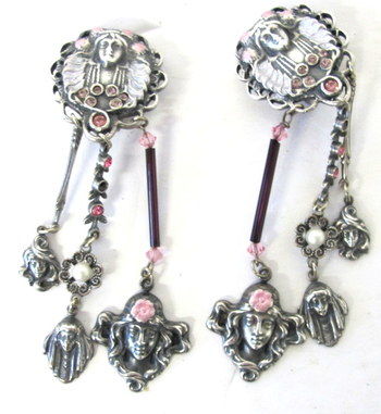 Art Nouveau Style Silver Tone Earrings