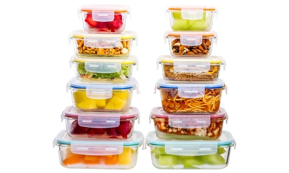 Imperial Home Glass Ovenproof Meal Prep Containers for Portion Control (24 Pc)