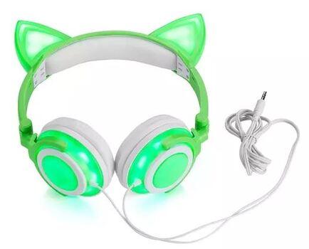 TechComm K8 Foldable LED Cat Ear Wired Headphones, Green