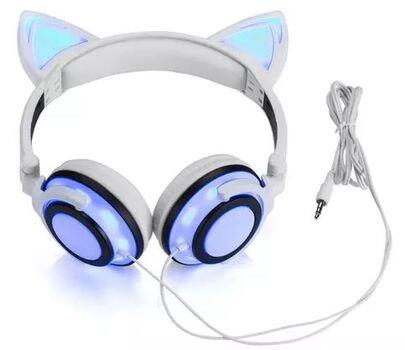TechComm K8 Foldable LED Cat Ear Wired Headphones, White