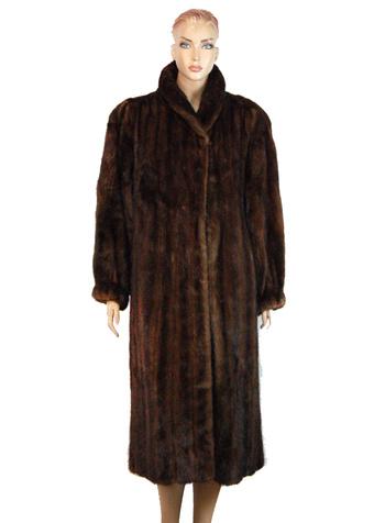 Women's Full Length Dark Brown Mink Coat - Size XL/XXL - Cold Storage Value $5,000.00
