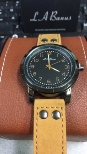 L.A Banus Black Case With Brown Genuine Leather Strap Watch $325.00
