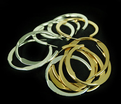 6 PAIRS - GOLD AND SILVER PLATED HOOP EARRINGS