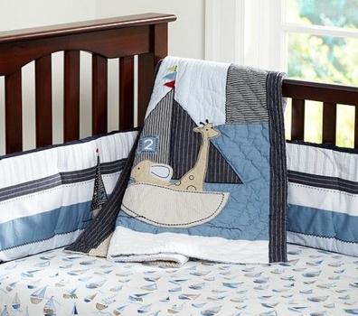 Pottery Barn Kids Nautical Crib Fitted Sheet, Skirt & Comforter