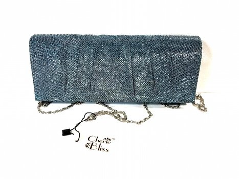 NWT Cherie Bliss Metalic Blue Evening Clutch Purse